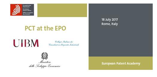 """18/07/2017- Roma, Seminario Gratuito Dal Titolo """"PCT At The EPO"""". Sala Del Pubblico Dell'UIBM"""
