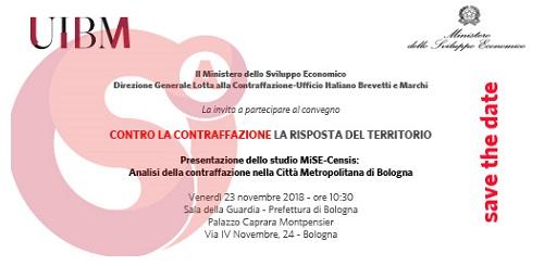 """23/11/2018- Studio Mise-Censis: """"Analisi Della Contraffazione Nella Città Metropolitana Di Bologna"""""""