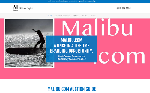 Malibu.com Domain Name Will Be Auctioned Next Month
